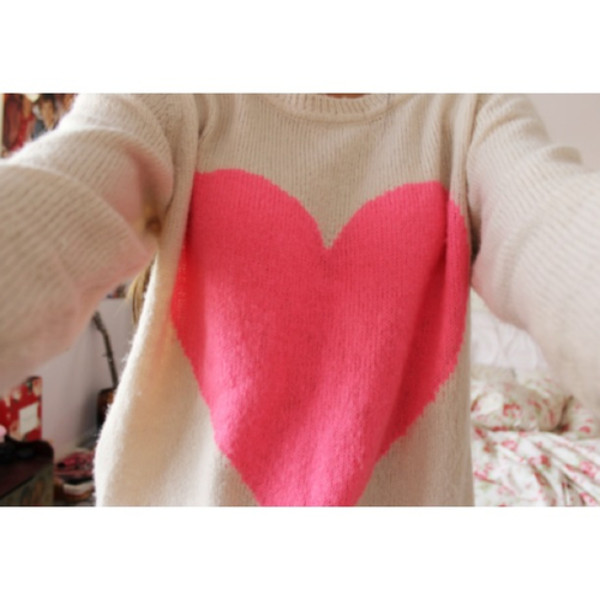 Sweater: heart, pink, white, warm, winter outfits, cute, girly ...