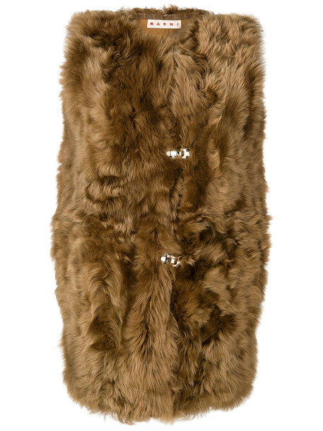 jacket sleeveless long fur women brown