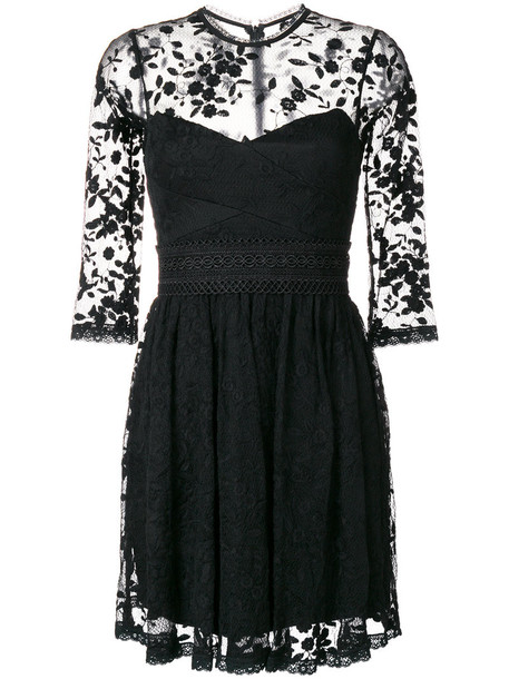 Three Floor dress lace dress flare women fit lace cotton black
