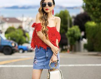 skirt denim skirt embroidered skirt off the shoulder top lace top mini bag sunglasses earrings blogger blogger style