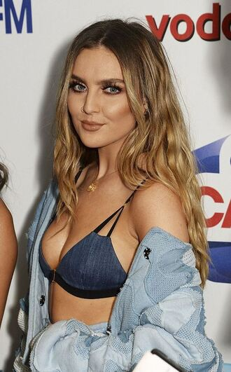 underwear bra bralette perrie edwards little mix denim denim jacket