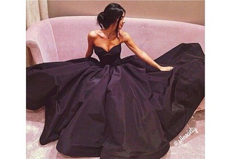 dress black dress prom dress black strapless gown style fashion sexy beautiful elegant