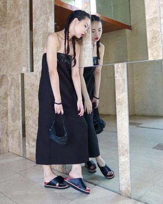 elle victoire blogger bustier dress braid slide shoes