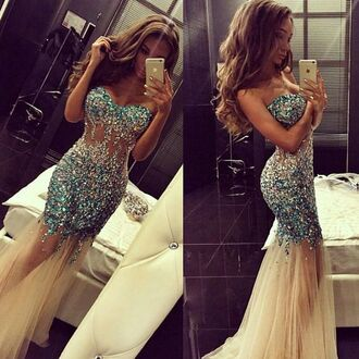 dress clothes prom dress sparkle blue sheer pretty prom long prom dress sparkly dress rhinestones see through dress