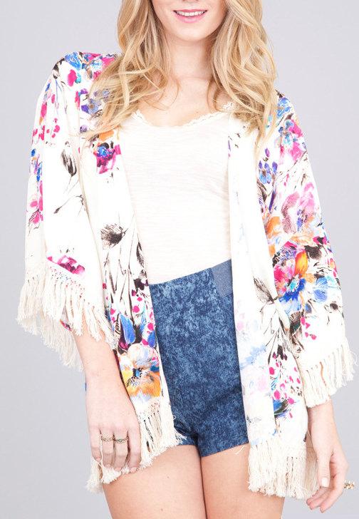 Cardigan frange tropicale kimono imprimé floral