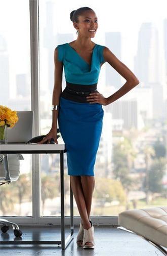 dress blue dress shoes high heels day dress office outfits jewelry jewels asymmetrical fashion