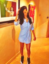 dress,shirt,flannel,button up,blue,rihanna,shoes,shirt dress,denim dress,denim shirt