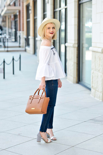 poor little it girl blogger top sweater dress off the shoulder top handbag sandals mid heel sandals spring outfits