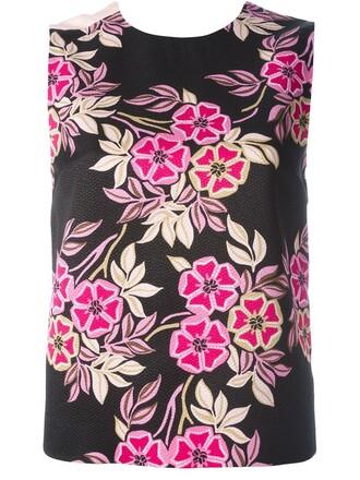 tank top top floral print black