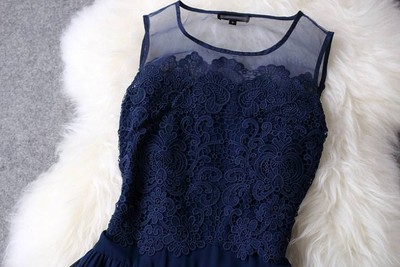 Lace hand-embroidered organza lace sleeveless dress tutu dress Blue · Outletpad · Online Store Powered by Storenvy