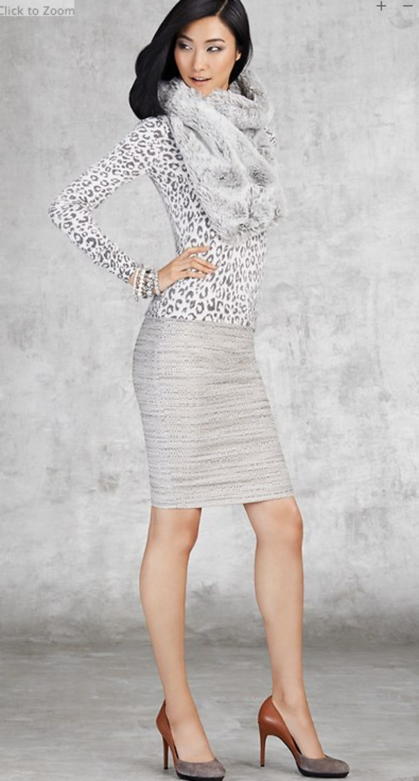 sweater lookbook fashion ann taylor skirt shoes jewels