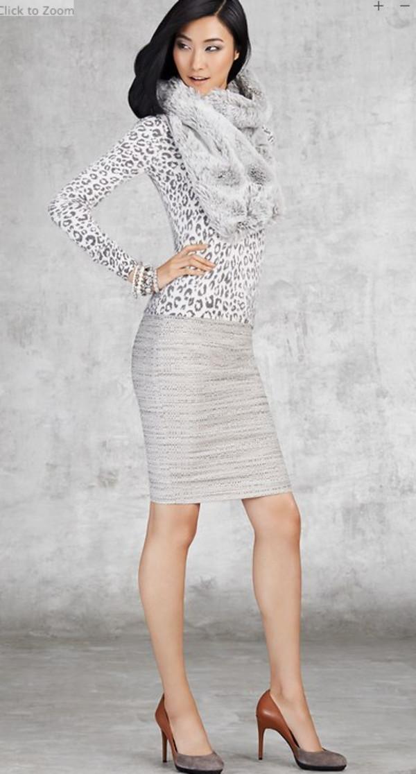 sweater lookbook fashion ann taylor skirt shoes jewels