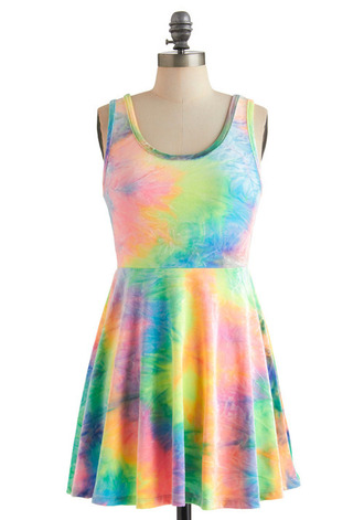 colorful color/pattern fancy hippie dream retro dress tie dye summer dress beach summer style cool hipster