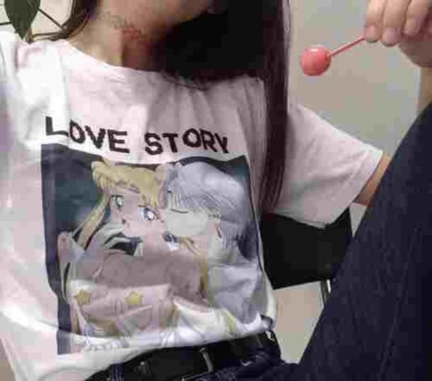 t-shirt sailor moon kawaii kawaii grunge grunge pastel goth pastel grunge love choker necklace shirt grunge t-shirt cute shirt anime shirt white t-shirt i saw this on tumblr