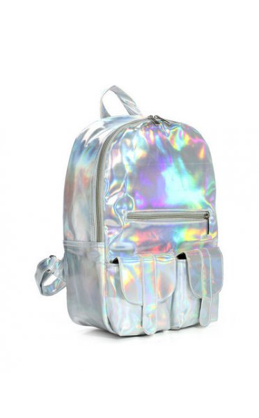 Exclusive silver hologram large backpack
