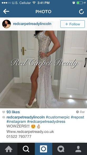 dress halter dress white gem clear rhinestones prom dress