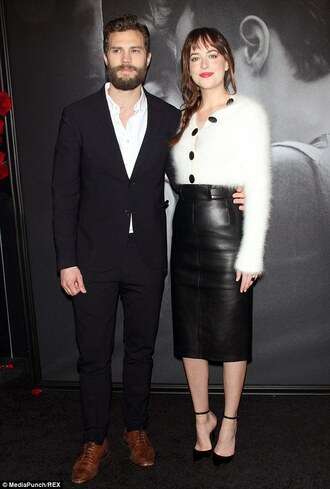 coat wool leather skirt black white belted buttons fifty shades of grey fifty shades angora mohair dakota johnson high waisted fluffy 50 shades fifty shaded sweater pencil skirt