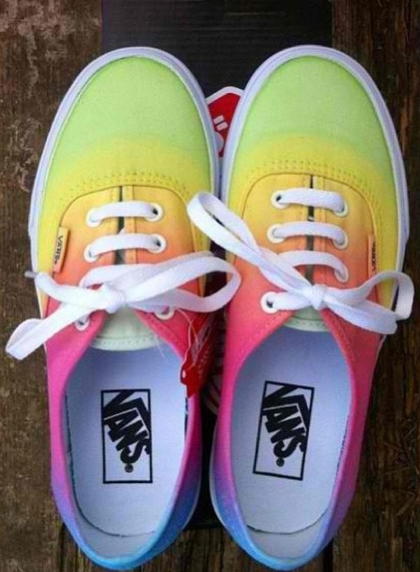 shoes vans rainbow ombre