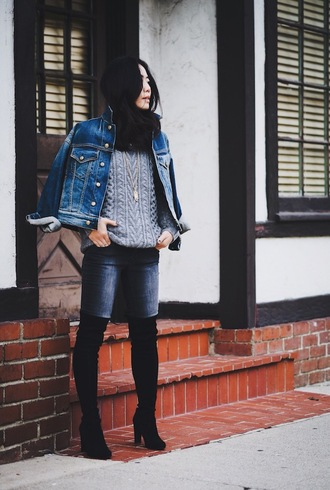 hallie daily blogger jeans shoes denim jacket cable knit thigh high boots jacket sweater grey cable knit sweater grey sweater blue jacket scarf black scarf denim blue jeans boots black boots high heels boots over the knee boots