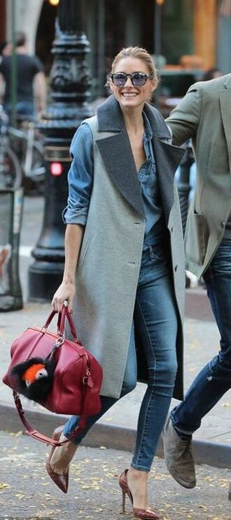 coat vest denim pumps olivia palermo fall outfits