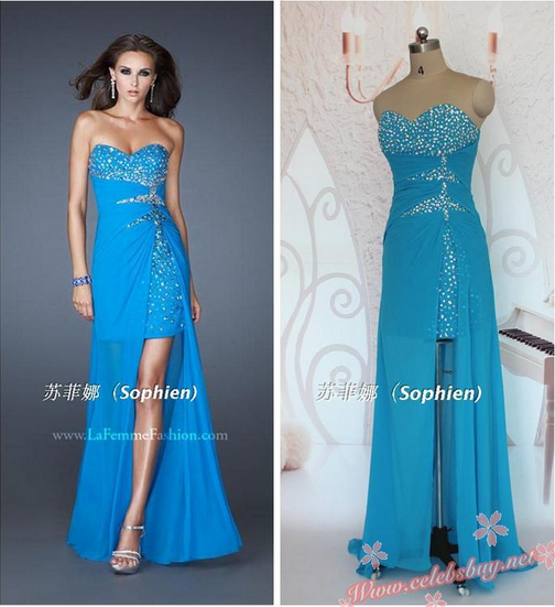 Celebrity prom dress: Celebrity jewel blue prom dress $159.99 each at Celebsbuy.net