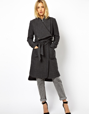 ASOS | ASOS Coat With Stepped Hem And Funnel Neck at ASOS