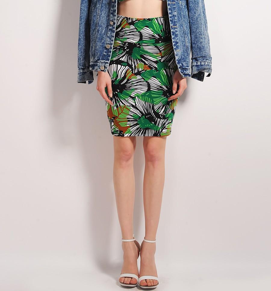 Tropical Print Pencil Skirt