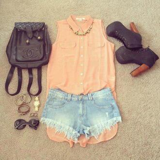 shirt cute shoes jewels bag denim shorts coral jeffrey campbell sleeveless blouse shoes #black shorts short #jean t-shirt pink pink shirt pastel pastel pink peach long top orange little black boots pastle sweet cute summer summer summer outfits orangy peachy tank top skirt sunglasses necklace bracelets top