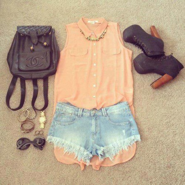 shirt shorts mini shorts denim shorts bag shoes tank top blouse