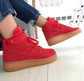 shoes,red sneakers,nike,nike air force 1
