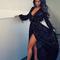 Deep v long sleeves black dress - awesomeworld.co.uk | awesome world - online store