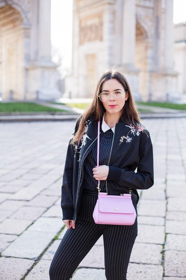 jacket black bomber jacket tumblr black jacket bomber jacket floral floral jacket bag pink bag pants stripes striped pants top striped top glasses clear lens sunglasses