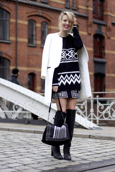 pattern blogger bag sweater skirt ohh couture knee high boots