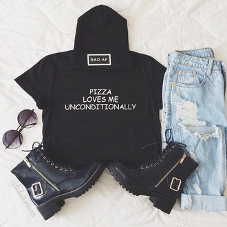 t-shirt shirt black t-shirt pizza white t-shirt grunge food grunge t-shirt galentines day