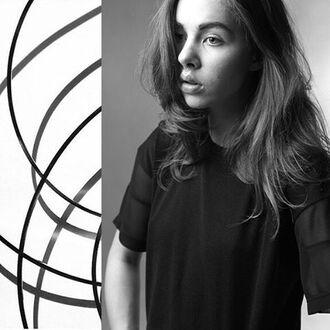 t-shirt fusion clothing womens wear black black style black tee womens tee girl beautiful girl art hair model women noir photography