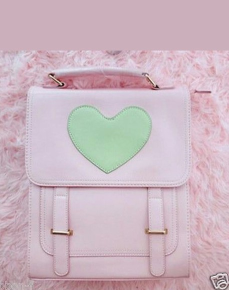 bag pink bag kawaii green heart
