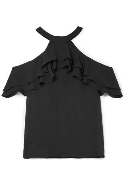 Draper James blouse cold black silk top