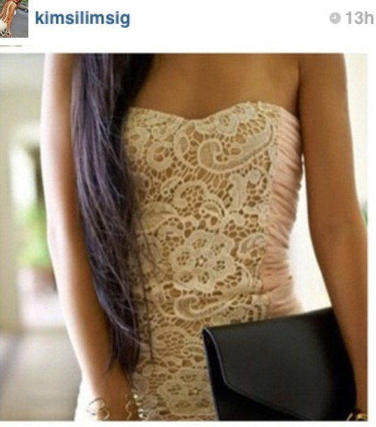 dress clothes lace off white pink homecoming asap strapless fitted cute girl skinny now popular find