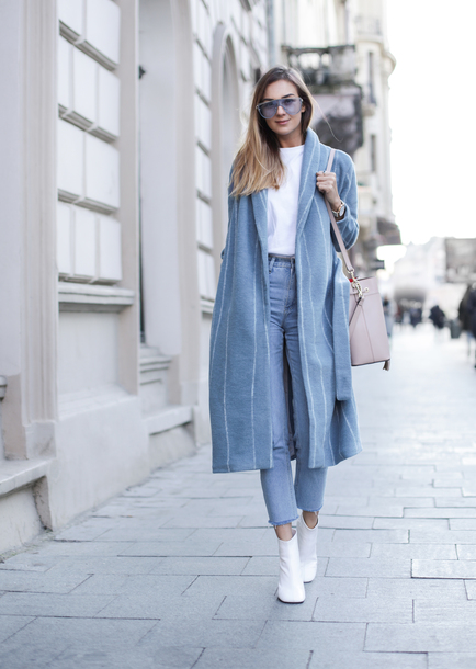 coat tumblr blue coat stripes top white top denim jeans blue jeans boots white boots ankle boots sunglasses