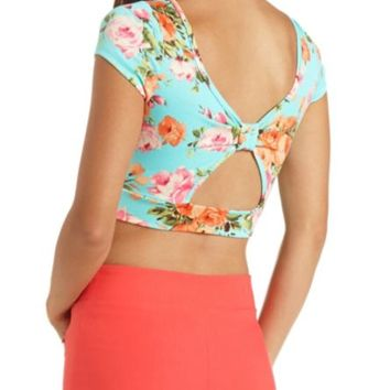 FLORAL PRINT BOW-BACK CROP TOP on Wanelo