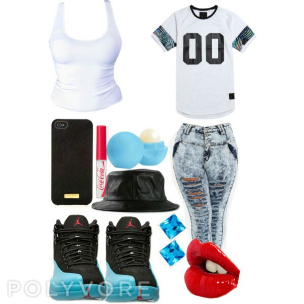 shoes tank top jersey tee shirt jordans highwisted ripped jeans bucket hats shirt black and white shirt with two   black zeros