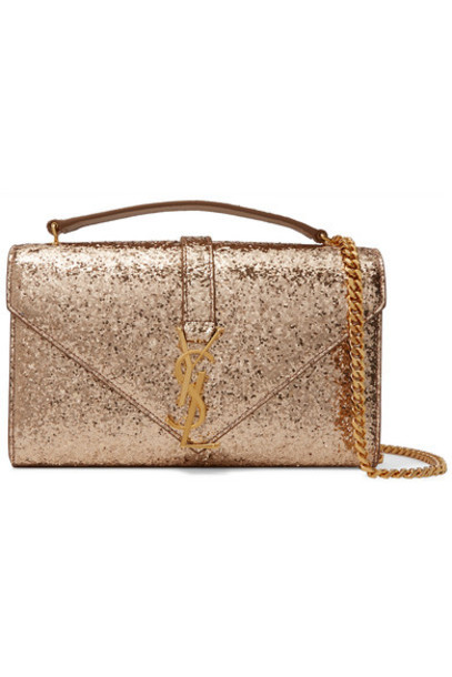 Saint Laurent - Monogramme Small Glittered Canvas Shoulder Bag - Gold