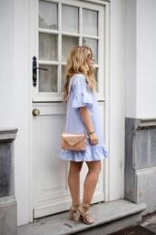 dress,tumblr,mini dress,blue dress,ruffle,ruffle dress,bag,sandals,sandal heels,high heel sandals,shoes