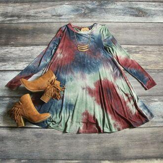 dress swing swing dress tie dye cute clothes long sleeves shop culture