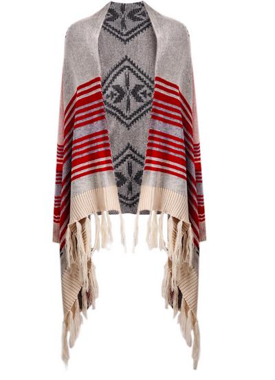 Red striped tassel cardigan sweater