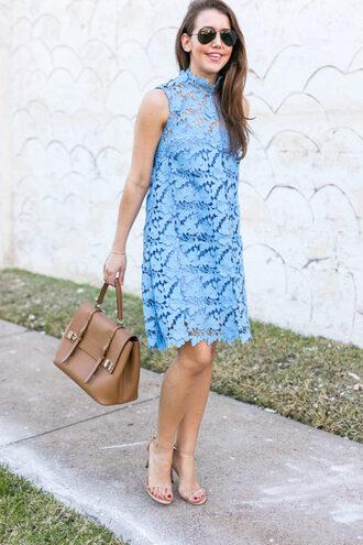 dallas wardrobe // fashion & lifestyle blog // dallas - fashion & lifestyle blog blogger dress sunglasses shoes bag lace dress blue dress handbag sandals