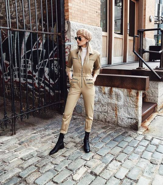 jumpsuit tumblr overalls nude pants boots weworewhat beret turtleneck sunglasses