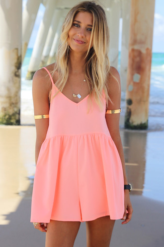 dress ustrendy ustrendy playsuit romper summer outfits neon coral neon jewels