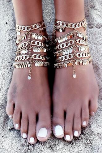jewels gold chain foot jewelry summer beach trendy freevibrationz