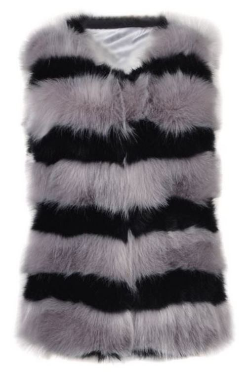 Gray and Black Faux Fur Waistcoat